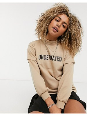 Noisy May high neck underrated logo front sweatshirt in beige-tan