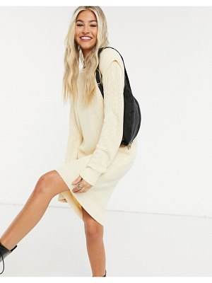 Noisy May knitted dress with sleeve detail in cream