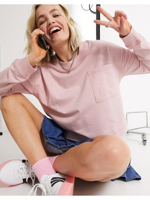 Noisy May lightweight sweat top in pink