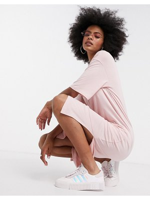 Noisy May midi t-shirt dress in baby pink