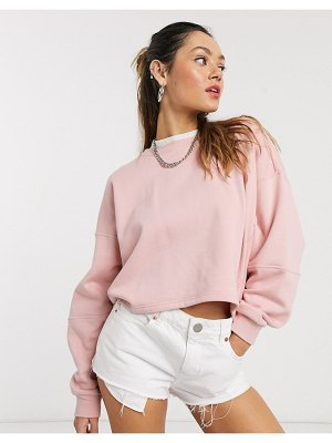 Noisy May oversized cropped drop arm sweatshirt in pink