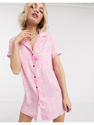 Noisy May oversized mini shirt dress in pink tie dye