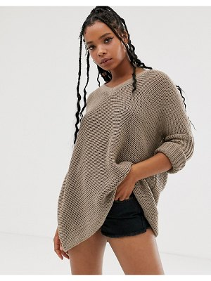 Noisy May oversized v neck sweater-beige