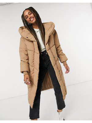 Noisy May padded coat in sand-brown