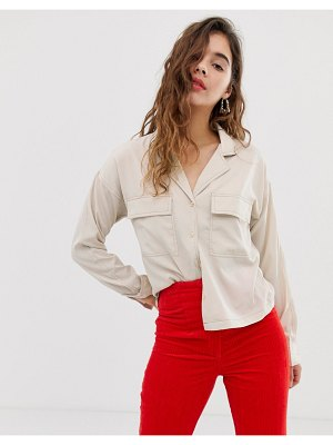 Noisy May pocket detail shirt with contrast stitch