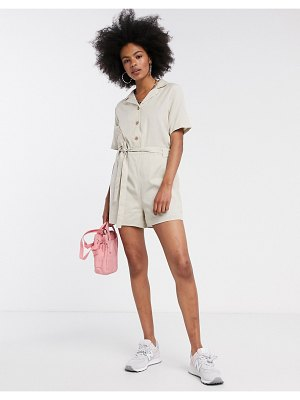 Noisy May romper with tie front in cream-beige