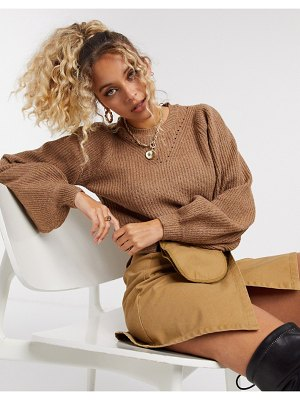 Noisy May sweater with pointelle detail and volume sleeves in camel-brown