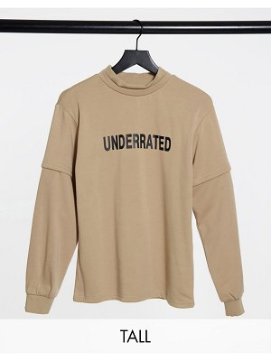Noisy May tall high neck sweatshirt with front print in beige