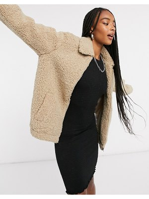 Noisy May teddy bomber jacket in sand-neutral