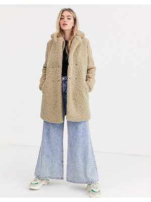 Noisy May teddy coat in beige-cream
