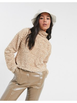 Noisy May textured fluffy top with high neck in camel-neutral