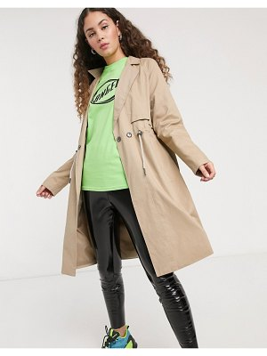 Noisy May trench coat drawstring waist in beige