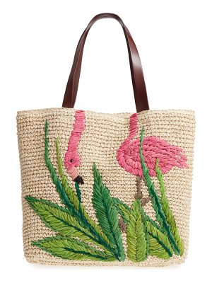 NORDSTROM Flamingo Packable Woven Raffia Tote