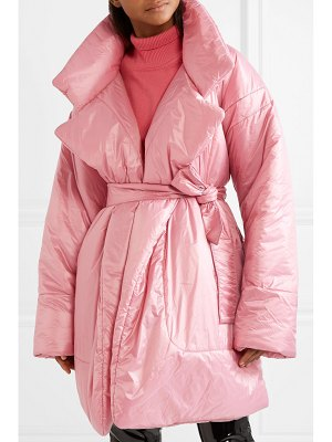 Norma Kamali belted quilted shell coat