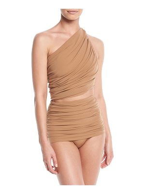 Norma Kamali Diana One-Shoulder Shirred Swim Top