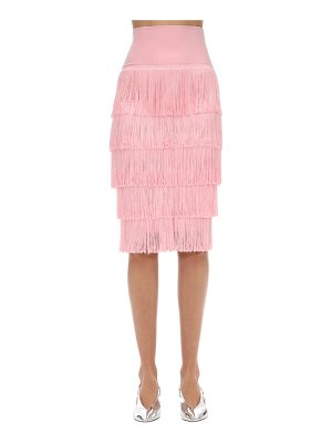 Norma Kamali High waist fringed techno tube skirt