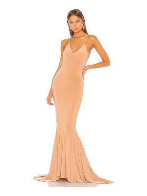 Norma Kamali low back slip mermaid fishtail gown