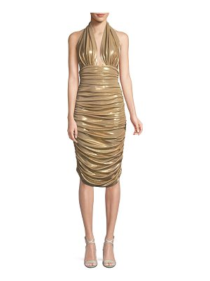 Norma Kamali Metallic Halter Cocktail Dress w/ Ruching
