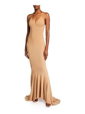 Norma Kamali V-Neck Low-Back Mermaid Fishtail Slip Gown