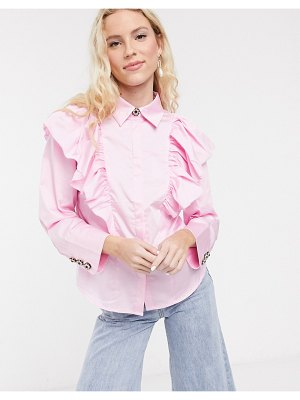 Notes Du Nord oakley ruffle shirt in soft pink