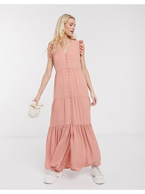 Notes Du Nord orchid recycled polyester maxi dress with button front and frill sleeve in pink