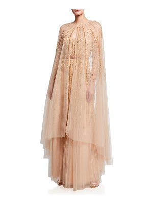 Notte by Marchesa Beaded Tulle Full-Length Cape Overlay