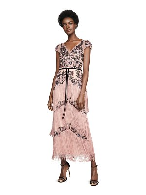 Notte by Marchesa cap sleeve embroidered fringe gown