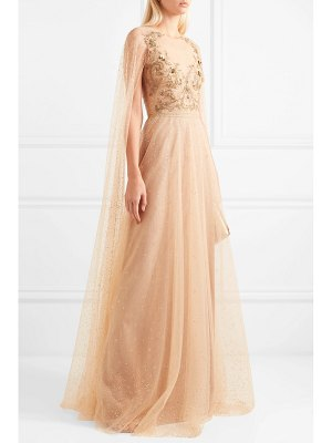 Notte by Marchesa cape-effect embellished glittered tulle gown
