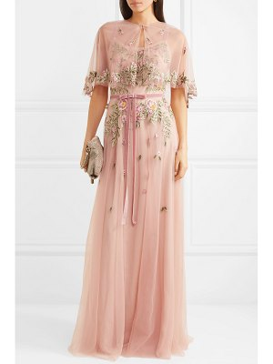 Notte by Marchesa cape-effect embroidered embellished tulle gown