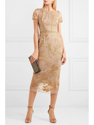 Notte by Marchesa embellished embroidered tulle midi dress