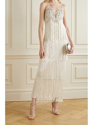 Notte by Marchesa embellished fringed tulle gown