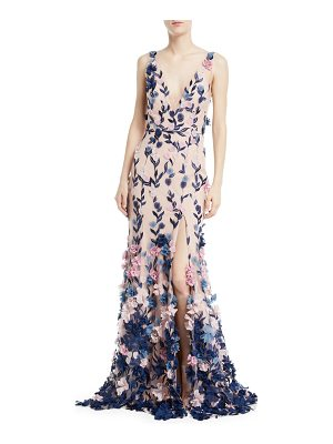 NOTTE BY MARCHESA Embroidered 3d Chiffon Flower Trumpet Gown