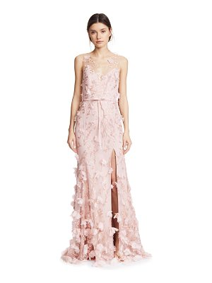 Notte by Marchesa embroidered gown with 3d flowers