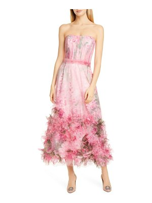 Notte by Marchesa floral applique strapless dress