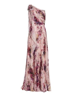 Notte by Marchesa floral asymmetrical pleated gown