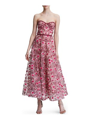 Notte by Marchesa floral embroidered strapless tea length gown