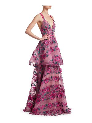 Notte by Marchesa floral embroidered tiered mesh gown