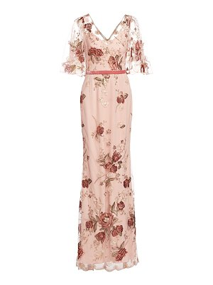 Notte by Marchesa floral embroidery cape-sleeve gown