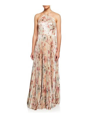 Notte by Marchesa Floral Lame Halter Gown with Pleated Skirt