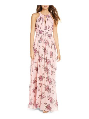 Notte by Marchesa floral metallic chiffon a-line gown