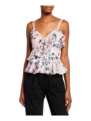Notte by Marchesa Floral-Printed Burnout Chiffon Sleeveless Peplum Top w/ Ruffle Detailing