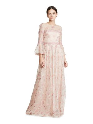 Notte by Marchesa flounce sleeve embroidered a-line gown