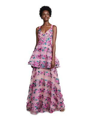Notte by Marchesa fringe floral tiered gown