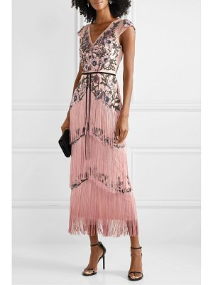 Notte by Marchesa fringed embellished embroidered tulle midi dress