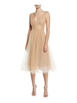 Notte by Marchesa Glitter Tulle Fit-&-Flare Dress