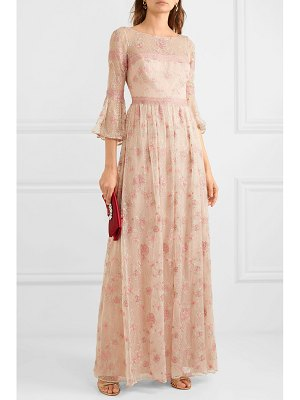 Notte by Marchesa lace-trimmed embroidered point d'esprit tulle gown