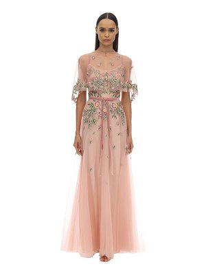 Notte by Marchesa Long embroidered tulle dress w/ cape