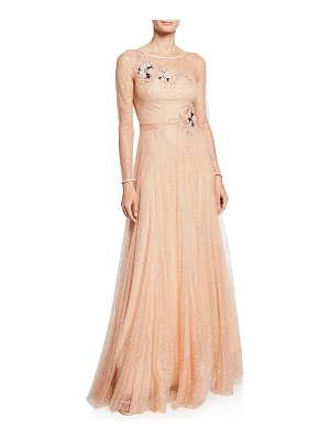 Notte by Marchesa Long-Sleeve Glitter Tulle Gown with Beaded Floral Appliques & Bow