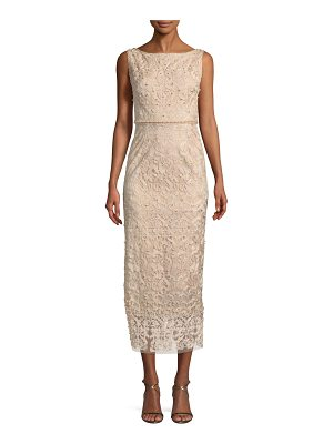 Notte by Marchesa Metallic Embroidered Cocktail Dress w/ Pearly Beads