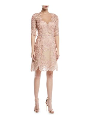 Notte by Marchesa Metallic Filigree Embroidered Cocktail Dress w/ Velvet Trim